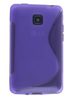 Wave Case for LG Optimus L3 II Dual E435 - Frosted Purple/Purple Soft Cover