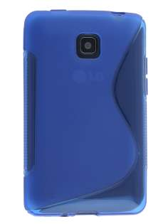 Wave Case for LG Optimus L3 II Dual E435 - Frosted Blue/Blue Soft Cover
