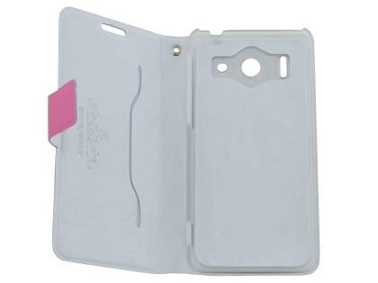 Slim Genuine Leather Portfolio Case for Huawei Ascend G510 - Pink