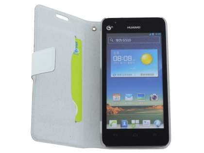 Huawei Ascend G510 Slim Genuine Leather Portfolio Case - Pearl White