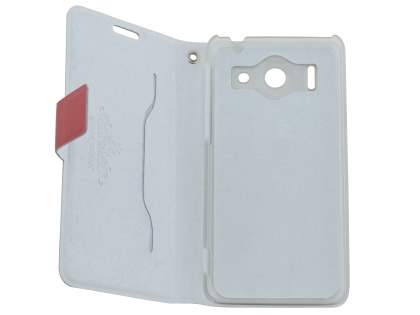 Slim Genuine Leather Portfolio Case for Huawei Ascend G510 - Red