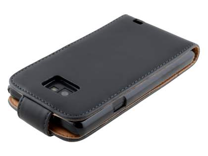 Samsung Galaxy S II I9100 Synthetic Leather Flip Case - Black