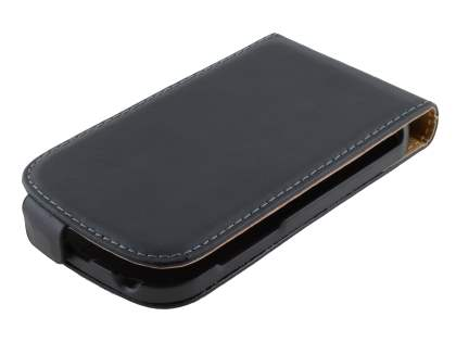 Slim Genuine Leather Flip Case for BlackBerry Q10 - Classic Black