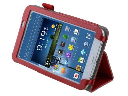 Synthetic Leather Flip Case with Fold-Back Stand for Samsung Galaxy Tab 3 7.0 - Red Leather Flip Case