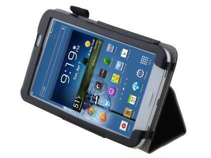 Synthetic Leather Flip Case with Fold-Back Stand for Samsung Galaxy Tab 3 7.0 - Classic Black Leather Flip Case
