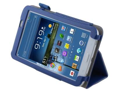Synthetic Leather Flip Case with Fold-Back Stand for Samsung Galaxy Tab 3 7.0 - Blue Leather Flip Case