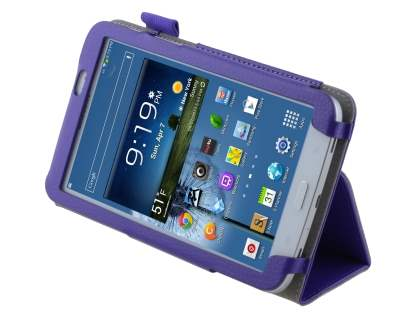 Synthetic Leather Flip Case with Fold-Back Stand for Samsung Galaxy Tab 3 7.0 - Purple Leather Flip Case