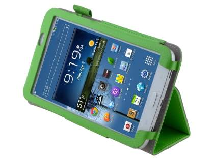 Synthetic Leather Flip Case with Fold-Back Stand for Samsung Galaxy Tab 3 7.0 - Green Leather Flip Case
