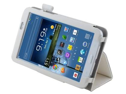 Synthetic Leather Flip Case with Fold-Back Stand for Samsung Galaxy Tab 3 7.0 - Pearl White Leather Flip Case