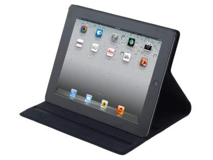 Premium Slim Genuine Leather Portfolio Case with Stand for iPad 2/3/4 - Classic Black Leather Flip Case