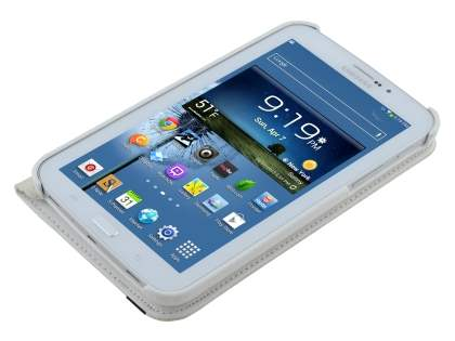 VELOCITY Synthetic Leather 360? Swivel Flip Case for Samsung Galaxy Tab 3 7.0 - Pearl White