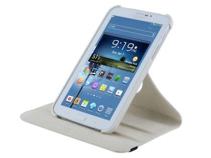 Samsung Galaxy Tab 3 7.0 VELOCITY Synthetic Leather 360° Swivel Flip Case - Pearl White