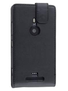 Synthetic Leather Flip Case for Nokia Lumia 925 - Classic Black Leather Flip Case