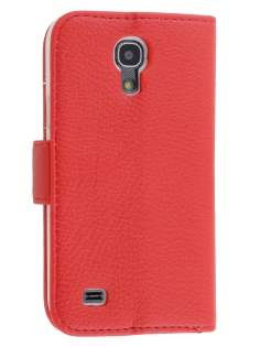 Synthetic Leather Wallet Case with Stand for Samsung Galaxy S4 mini - Red Leather Wallet Case