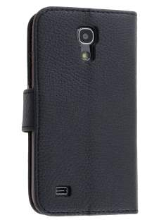 Synthetic Leather Wallet Case with Stand for Samsung Galaxy S4 mini - Classic Black Leather Wallet Case