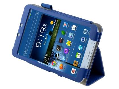 Synthetic Leather Flip Case with Fold-Back Stand for Samsung Galaxy Tab 3 8.0 - Blue