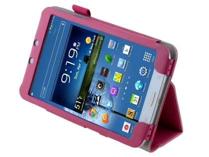 Synthetic Leather Flip Case with Fold-Back Stand for Samsung Galaxy Tab 3 8.0 - Pink Leather Flip Case