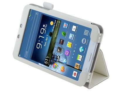 Samsung Galaxy Tab 3 8.0 Synthetic Leather Flip Case with Fold-Back Stand - Pearl White