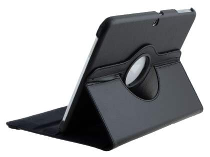 VELOCITY Synthetic Leather 360? Swivel Flip Case for Samsung Galaxy Tab 3 10.1 - Classic Black Leather Flip Case