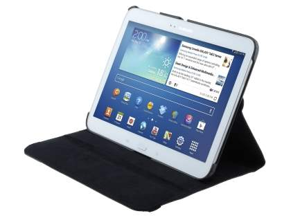 VELOCITY Synthetic Leather 360? Swivel Flip Case for Samsung Galaxy Tab 3 10.1 - Classic Black
