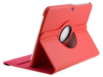 VELOCITY Synthetic Leather 360? Swivel Flip Case for Samsung Galaxy Tab 3 10.1 - Red Leather Flip Case