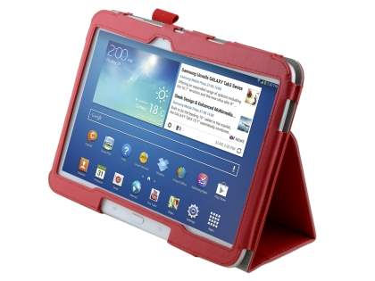 Synthetic Leather Flip Case with Fold-Back Stand for Samsung Galaxy Tab 3/4 10.1 - Red Leather Flip Case
