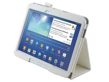 Synthetic Leather Flip Case with Fold-Back Stand for Samsung Galaxy Tab 3/4 10.1 - Pearl White Leather Flip Case