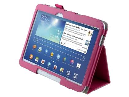 Synthetic Leather Flip Case with Fold-Back Stand for Samsung Galaxy Tab 3/4 10.1 - Pink Leather Flip Case