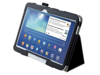 Synthetic Leather Flip Case with Fold-Back Stand for Samsung Galaxy Tab 3/4 10.1 - Classic Black Leather Flip Case