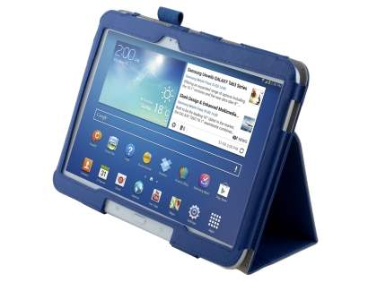 Synthetic Leather Flip Case with Fold-Back Stand for Samsung Galaxy Tab 3/4 10.1 - Dark Blue Leather Flip Case