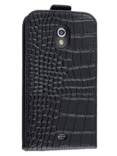 TS-CASE Crocodile Pattern Genuine leather Flip Case for Samsung Google Galaxy Nexus I9250 - Classic Black Leather Flip Case