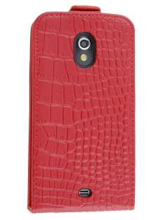 TS-CASE Crocodile Pattern Genuine leather Flip Case for Samsung Google Galaxy Nexus I9250 - Red Leather Flip Case