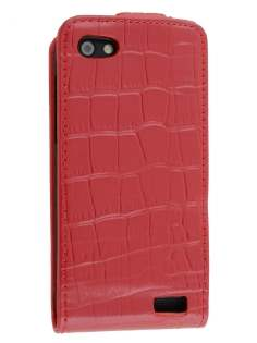 TS-CASE Crocodile Pattern Genuine leather Flip Case for HTC One V - Red