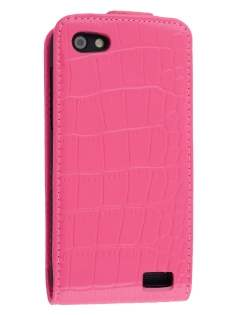 TS-CASE Crocodile Pattern Genuine leather Flip Case for HTC One V - Pink