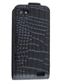 TS-CASE Crocodile Pattern Genuine leather Flip Case for HTC One V - Classic Black Leather Flip Case