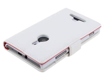 Nokia Lumia 925 Slim Synthetic Leather Wallet Case with Stand - Pearl White