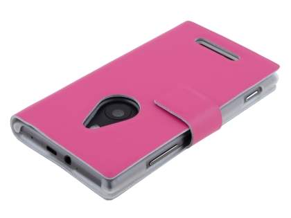 Nokia Lumia 925 Slim Genuine Leather Portfolio Case - Pink