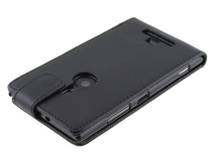 Nokia Lumia 925 Synthetic Leather Flip Case - Classic Black