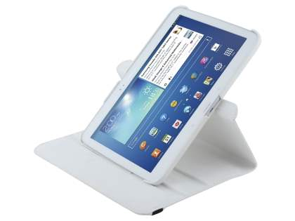 VELOCITY Synthetic Leather 360? Swivel Flip Case for Samsung Galaxy Tab 3 10.1 - Pearl White