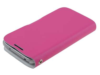 Slim Genuine Leather Portfolio Case for Samsung Galaxy S4 mini - Pink