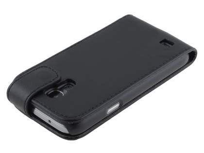 Synthetic Leather Flip Case for Samsung Galaxy S4 mini - Classic Black