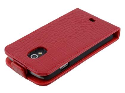 TS-CASE Crocodile Pattern Genuine leather Flip Case for Samsung Google Galaxy Nexus I9250 - Red