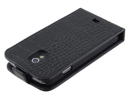 TS-CASE Crocodile Pattern Genuine leather Flip Case for Samsung Google Galaxy Nexus I9250 - Classic Black