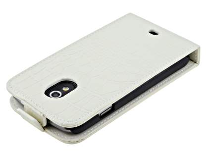 TS-CASE crocodile pattern Genuine leather Flip Case for Samsung Google Galaxy Nexus I9250 - Pearl White