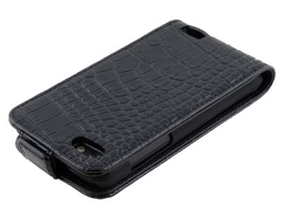 TS-CASE crocodile pattern Genuine leather Flip Case for HTC One V - Classic Black
