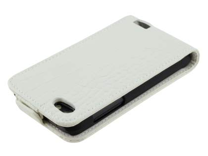TS-CASE Crocodile Pattern Genuine leather Flip Case for HTC One V - Pearl White
