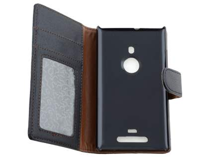 Nokia Lumia 925 Slim Synthetic Leather Wallet Case with Stand - Classic Black