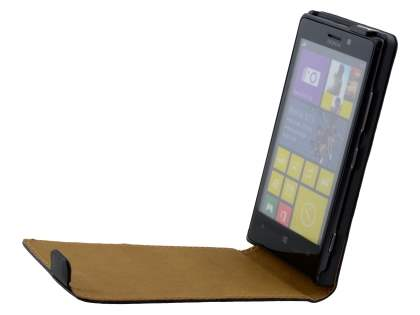 Nokia Lumia 925 Slim Genuine Leather Flip Case - Classic Black