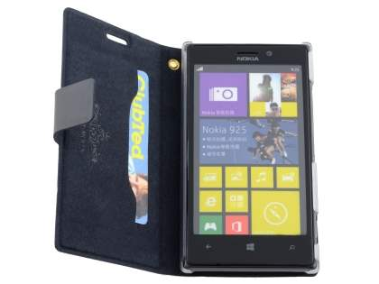 Nokia Lumia 925 Slim Genuine Leather Portfolio Case - Classic Black