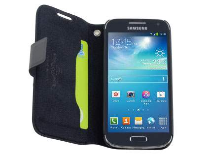Samsung Galaxy S4 mini Slim Genuine Leather Portfolio Case - Classic Black
